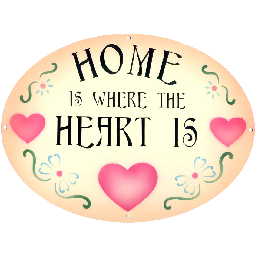 "Phrases – ""Home Is Where The Heart Is"" Country Heart On Peach"