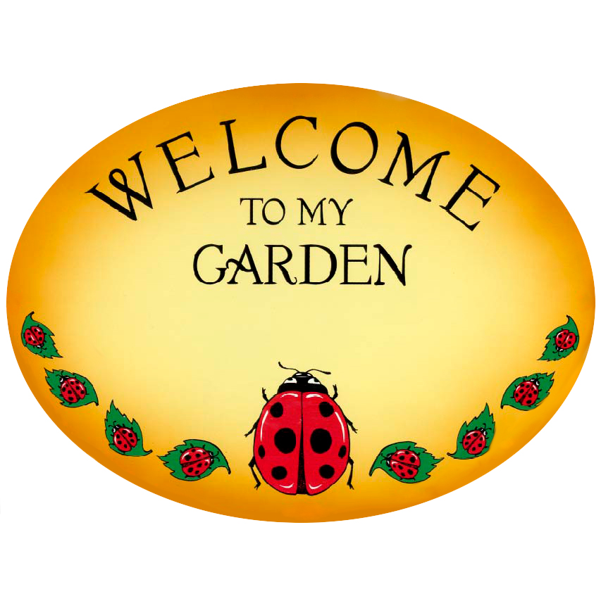 Phrase-Welcome To My Garden Yellow Plaque With Lady Bug