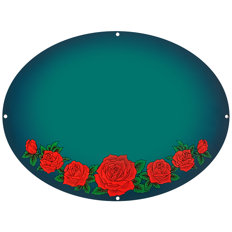 Red Roses On Teal Plaque