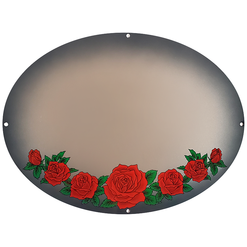 Red Roses On Silver Metallic Plaque
