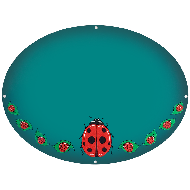 Lady Bugs Plaque On Teal