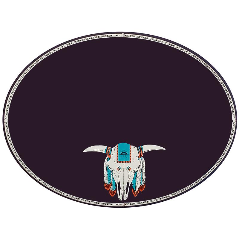 Indian skull on dark blue plaque