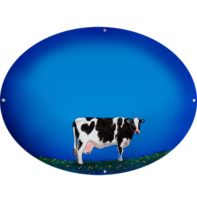 Cow Plaque On Blue