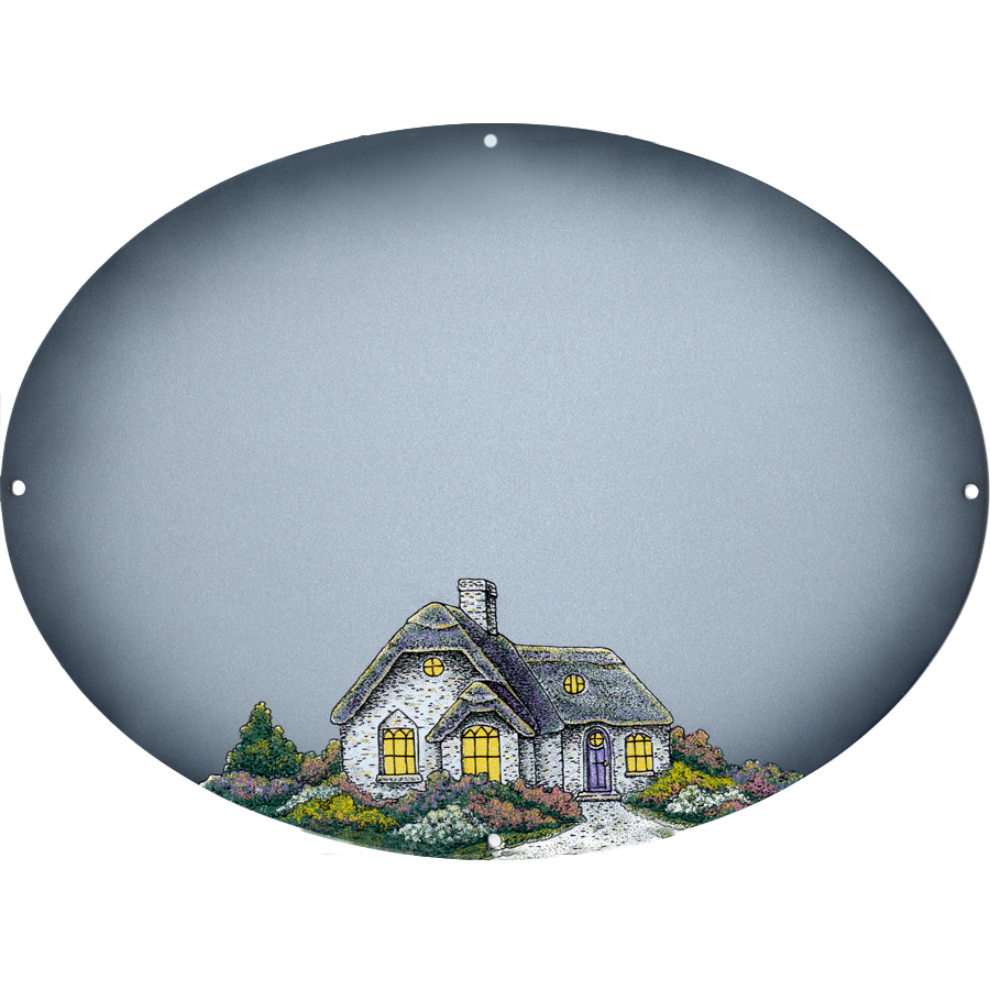 Welcome – Cottage On Silver Metallic