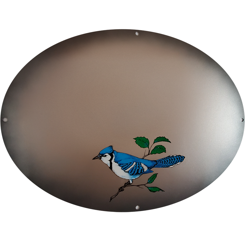 Blue Jay On Silver Metallic Plaque