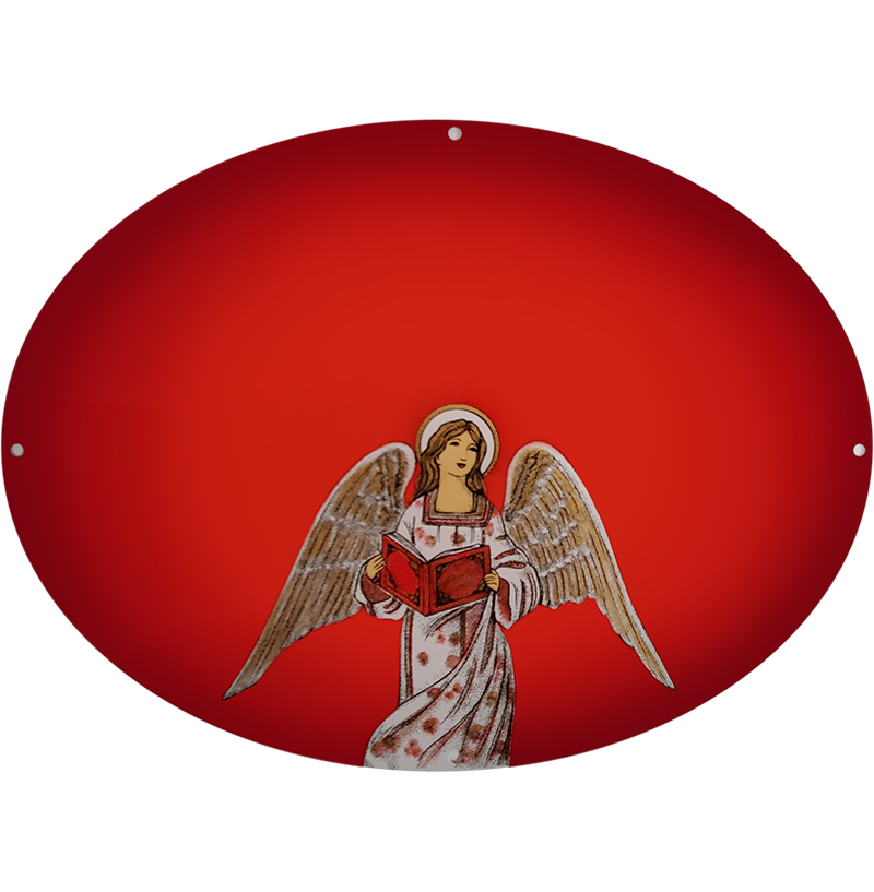 Angel Plaque On Red